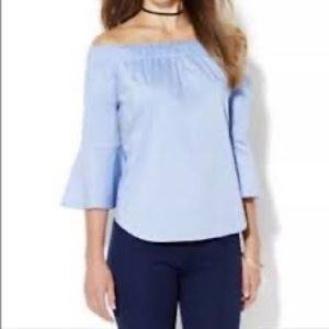 NY&Co. Off The Shoulder Chambray Bell Sleeve